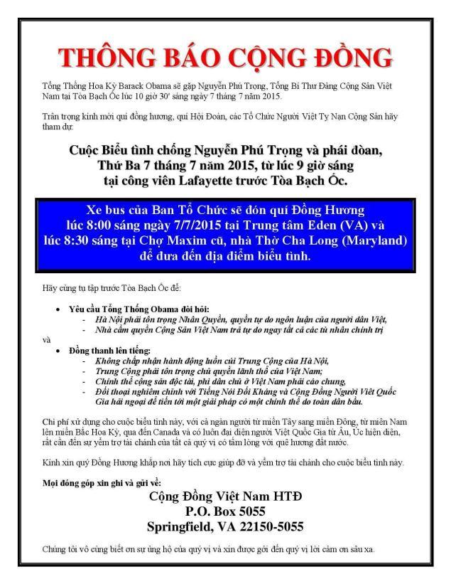 Thông Cáo Bieu Tinh Nguyen Phu Trong
