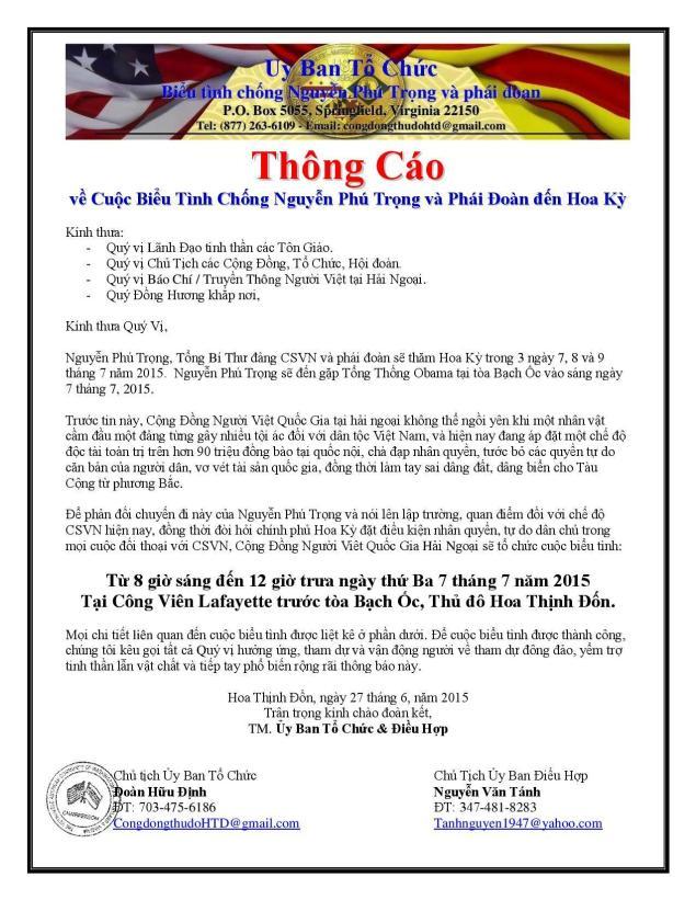 Thông Cáo BTC Bieu Tinh Nguyen Phu Trong